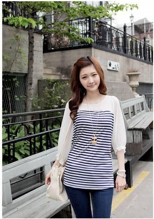 Blue Stripes Combined Chiffon Asian Fashion Blouse