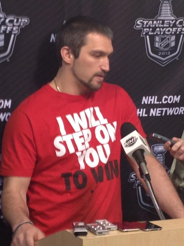 58ec5c3fa #Caps Alex Ovechkin is wearing a T-shirt at Kettler that says: I will step  on you to win.