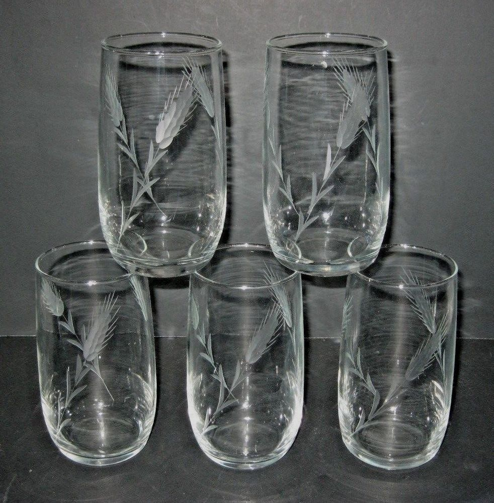 Vintage Etched Wheat Glass Tumblers Set Of 5 Unknown Glasses Drinking Wheat Design Glass Tumbler