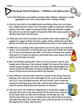 Decimals Word Problems Addition And Subtraction With Images