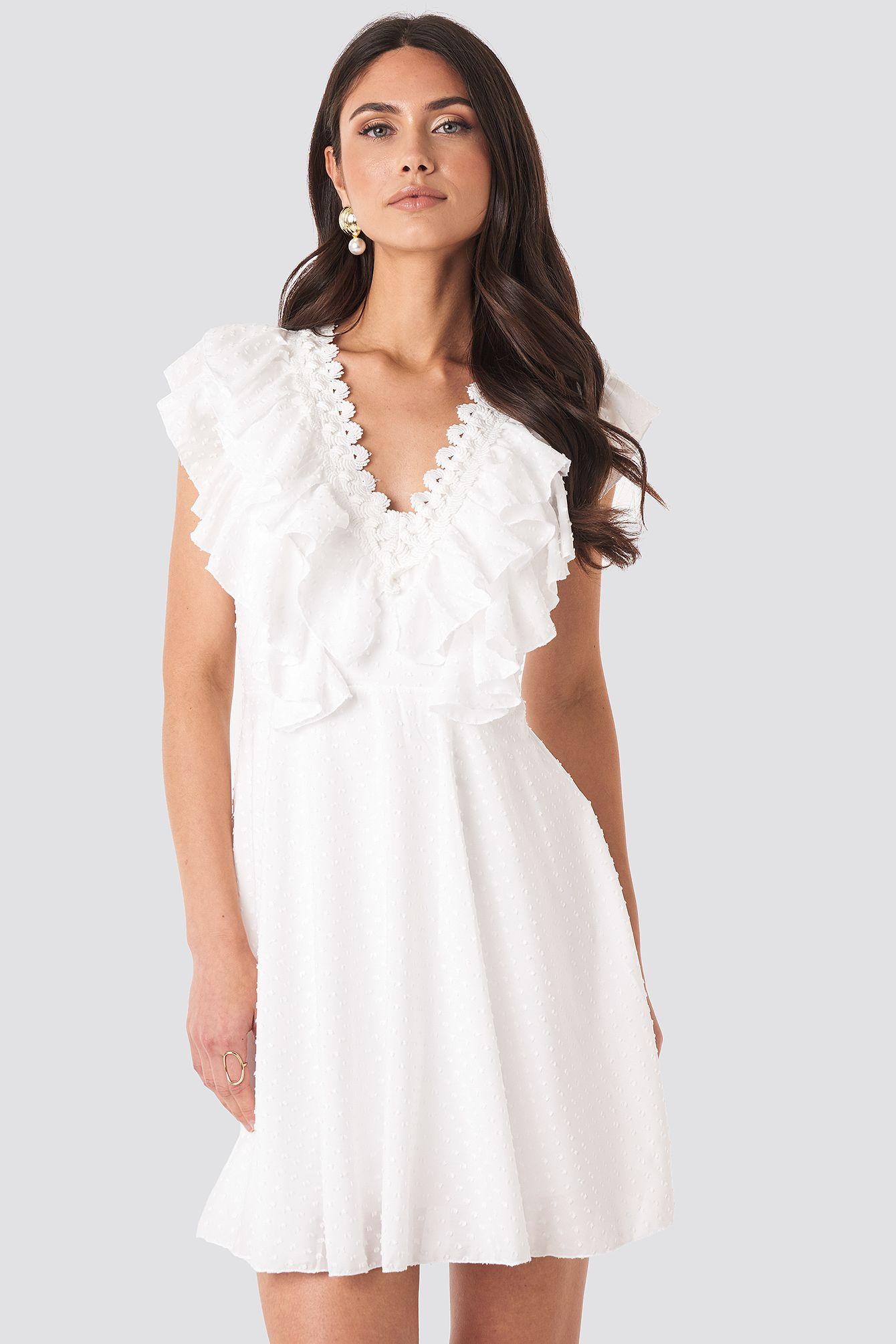 neck detail midi dress weiß in 2020 | midikleider, kleider