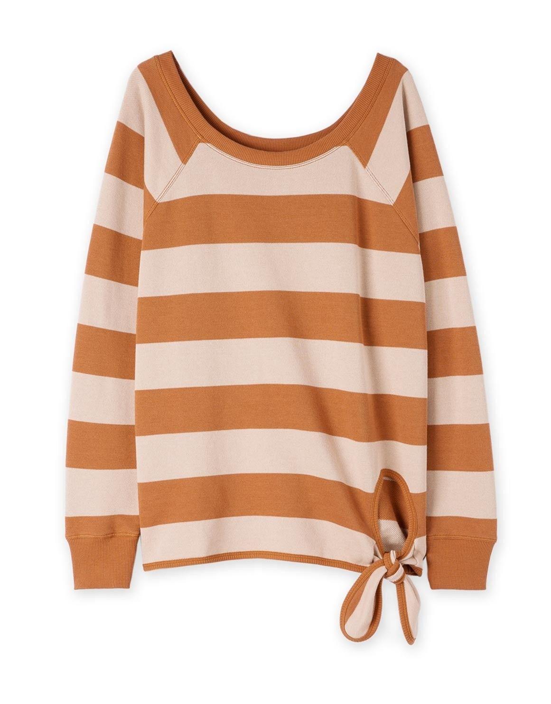 Slouch Stripe Tie Up Sweater