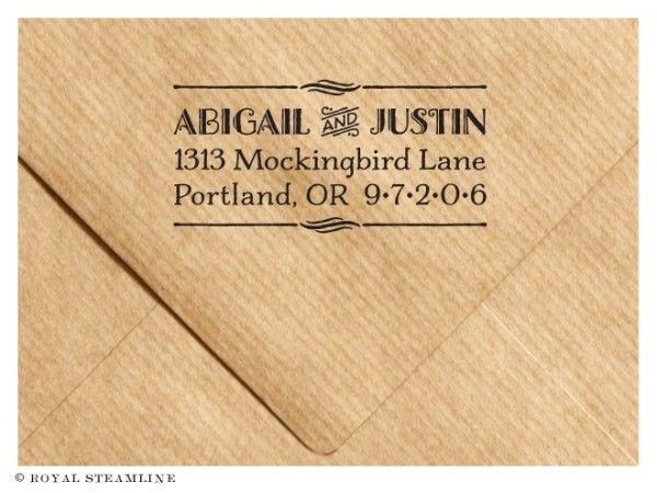 Cute hand drawn Gatsby address stamp by Royal Steamline
