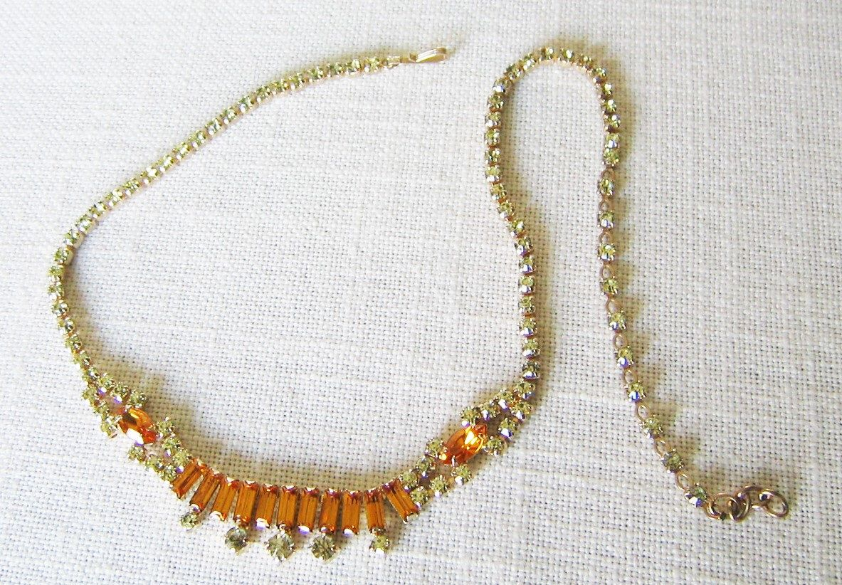 SHERMAN RHINESTONE NECKLACE Amber Yellow Rhinestones Gold Tone