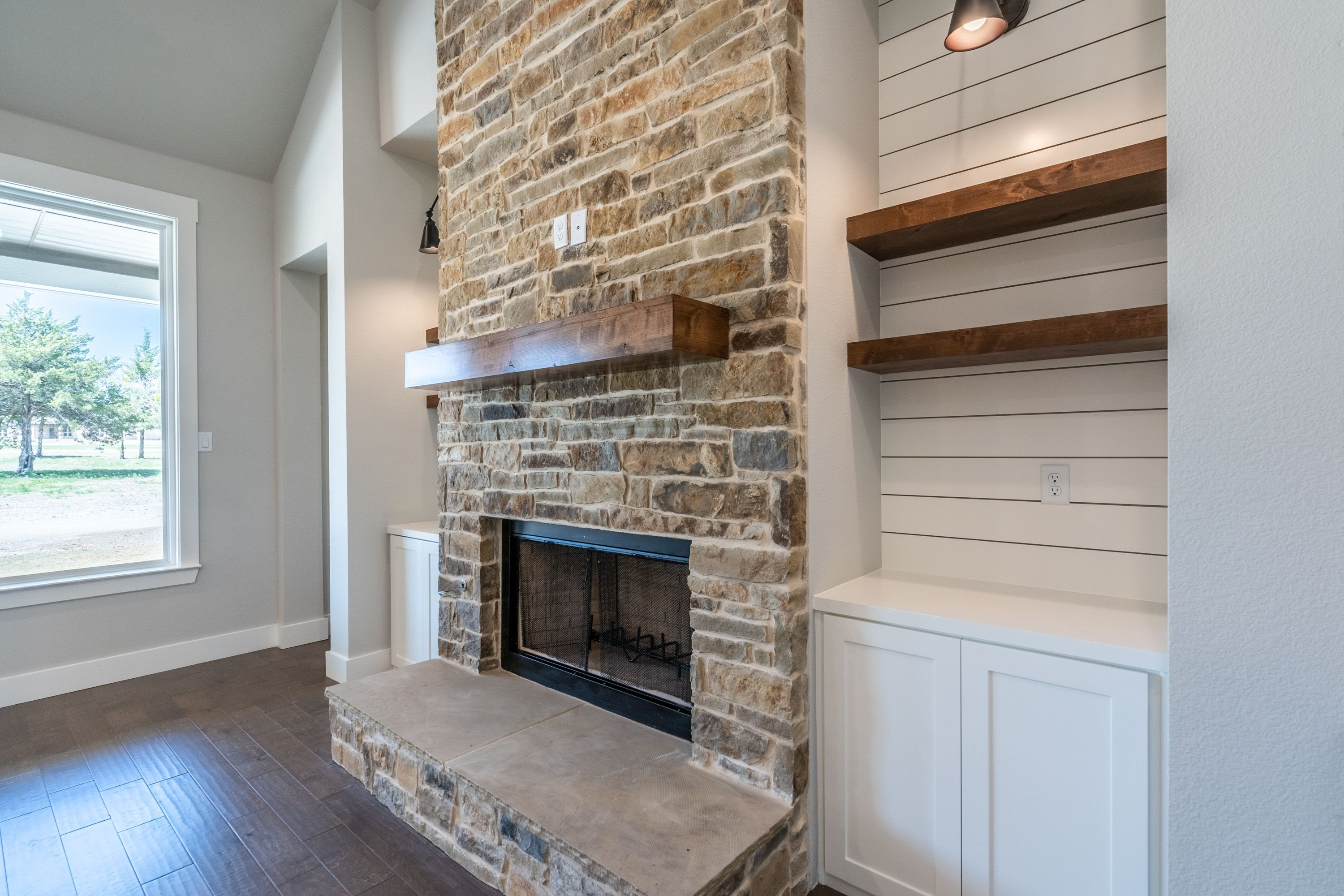 Stone fireplace with built-in's, #builtin39s #fireplace # ...