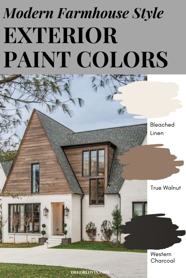 Modern Farmhouse Style Exterior Paint Colors In 2020 Farmhouse Style Exterior Rustic Houses Exterior Best House Colors Exterior