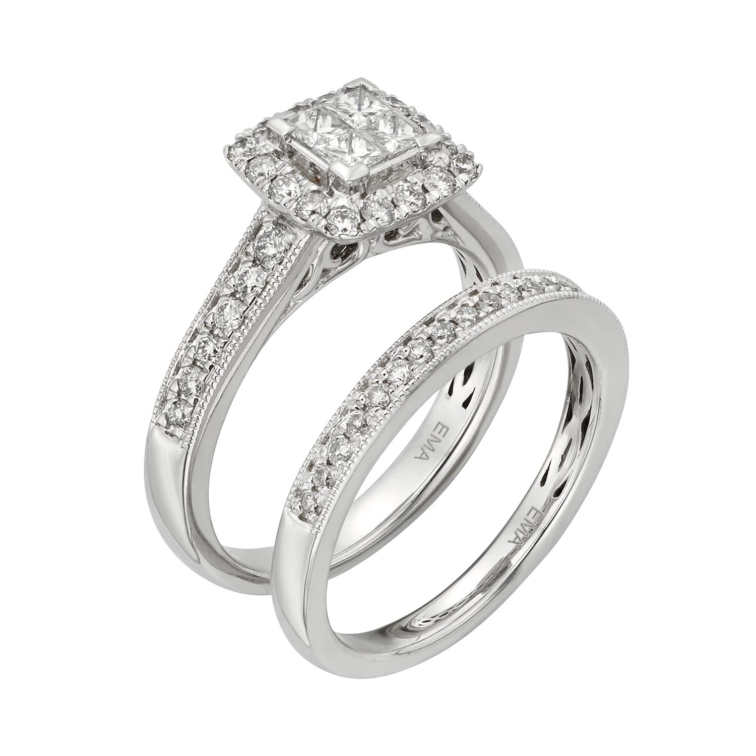 IGL Certified Diamond Square Halo Engagement Ring Set in 14k White Gold (1 Carat T.W.) #Affiliate #Square, #Halo, #Engagement, #IGL