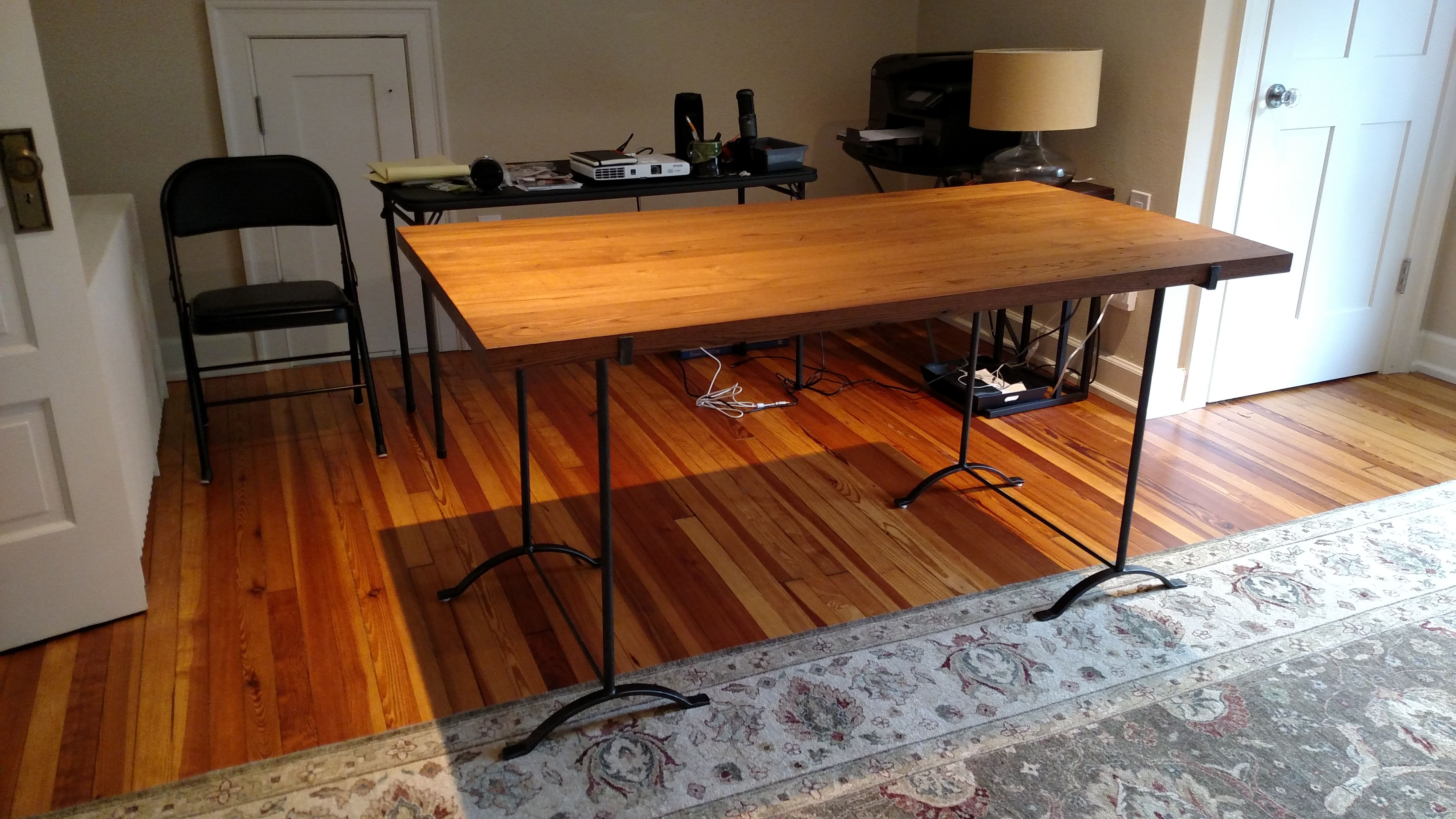 Custom Made Wrought Iron Table With Reclaimed Wood Top In State