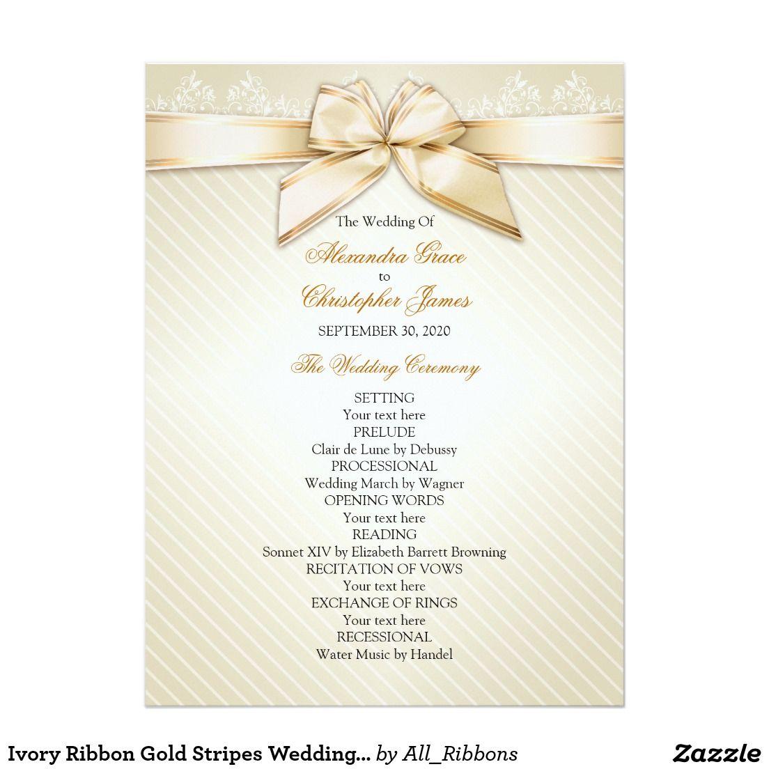 Ivory Ribbon Gold Stripes Wedding Program | Gold stripes, Wedding ...