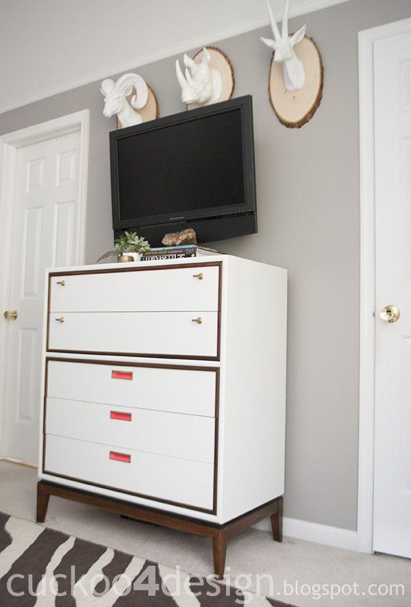 Stanley Midcentury Dresser In White, Pink, Brass And Neon Pink