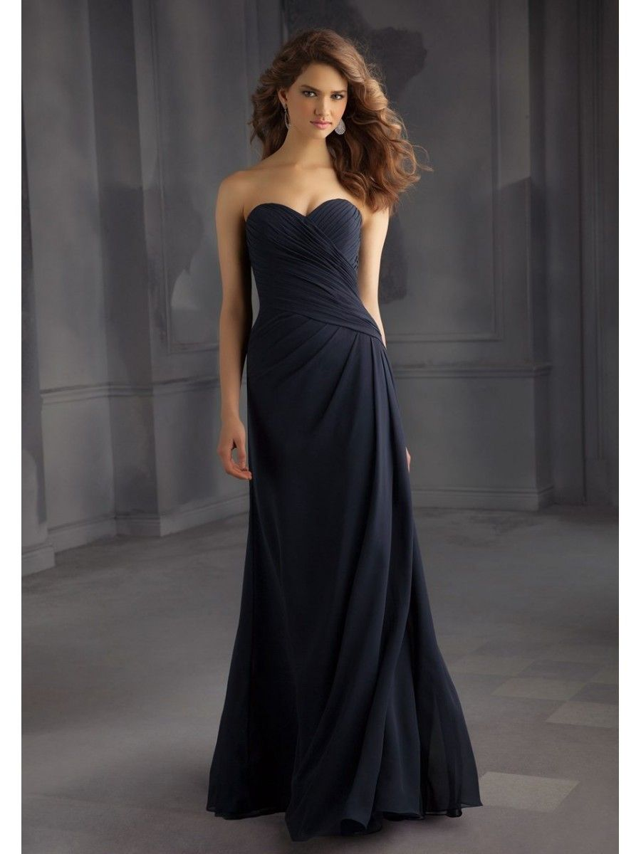 Long sweetheart chiffon bridesmaid dresses pinterest