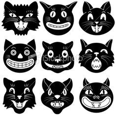 Vector Illustrations Of A Various Halloween Black Cats