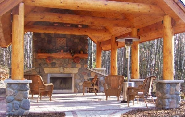 The Bbq Area Log Home Pinterest Outdoor Pavilion