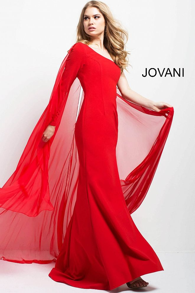 Simple Floor length form fitting red cape evening dress with high ...