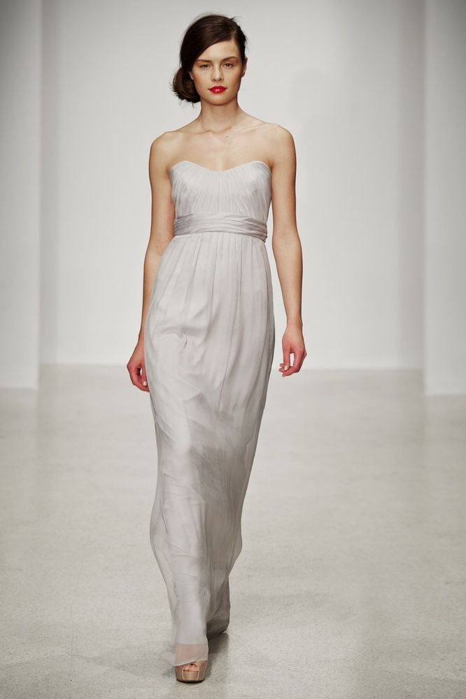 AMSALE Strapless Crinkled Silk Chiffon Gown LIGHT BEIGE Size 2 #03 ...