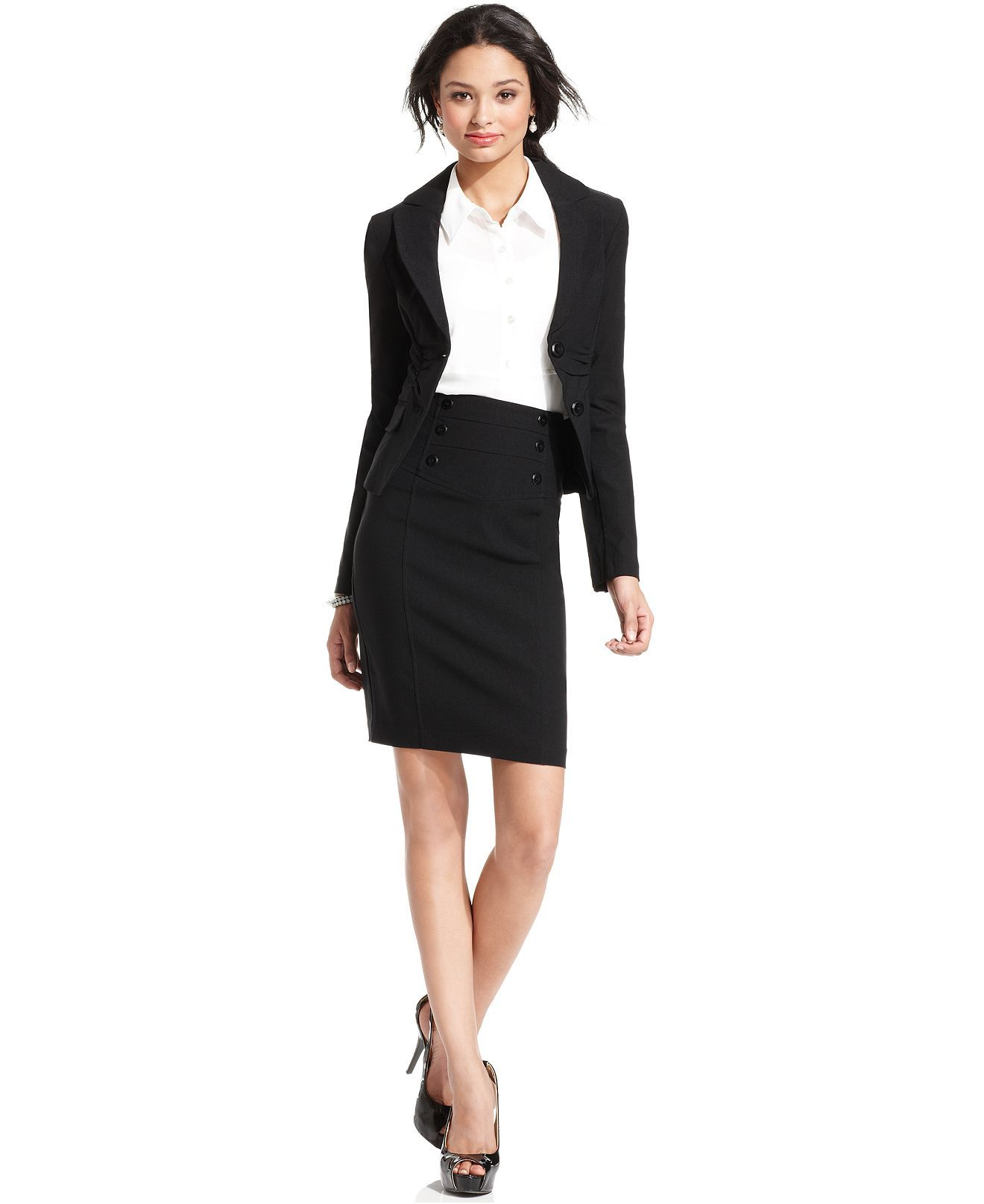BCX Millenium Ruched Blazer & Millenium High-Waist Pencil Skirt ...