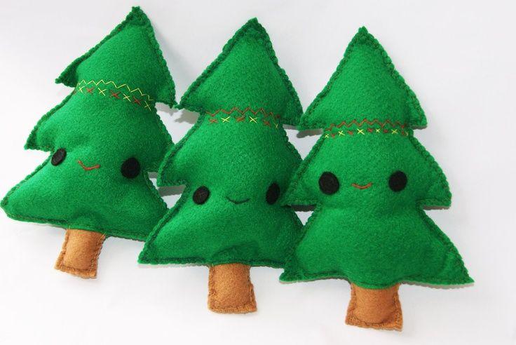 felt christmas pillow | Plush Christmas Tree Felt Soft Toy Cushion/Pillow Cute Happy Stocking ...
