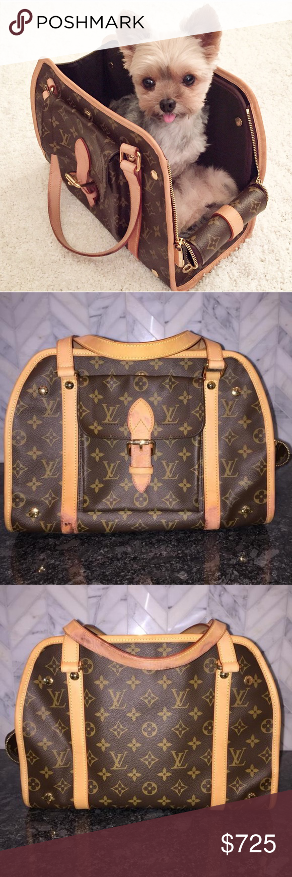 df84424674b LOUIS VUITTON Baxter PM Monogram Dog Carrier FABULOUS   CUTE! I love this  bag but bought another so selling this one! Previous seller had not  disclosed that ...