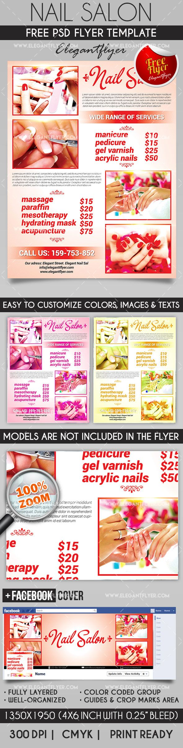 free best nails salon psd template flyers pinterest nail salons psd templates and salons - Nail Brochure Templates Free