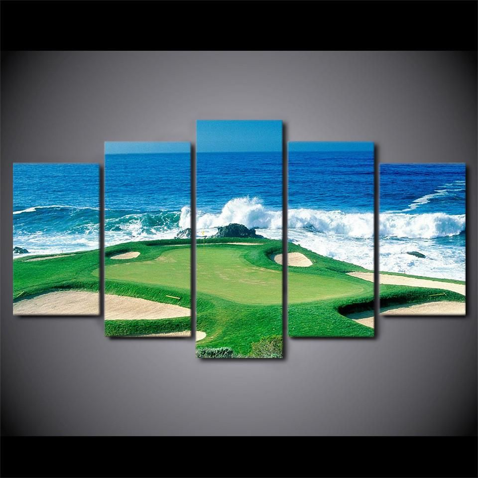 5 Piece Wall Art Golf Course Coast Hole Ocean View With Waves Pebble Beach Great For Office Gol Canvas Art Wall Decor Customized Canvas Art Wall Canvas