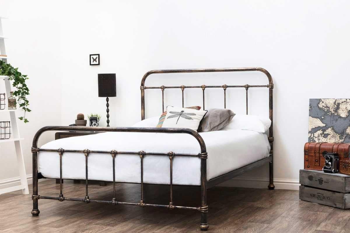 Burford Rustic Antiqued Victorian Hospital Style Metal Bed Frame