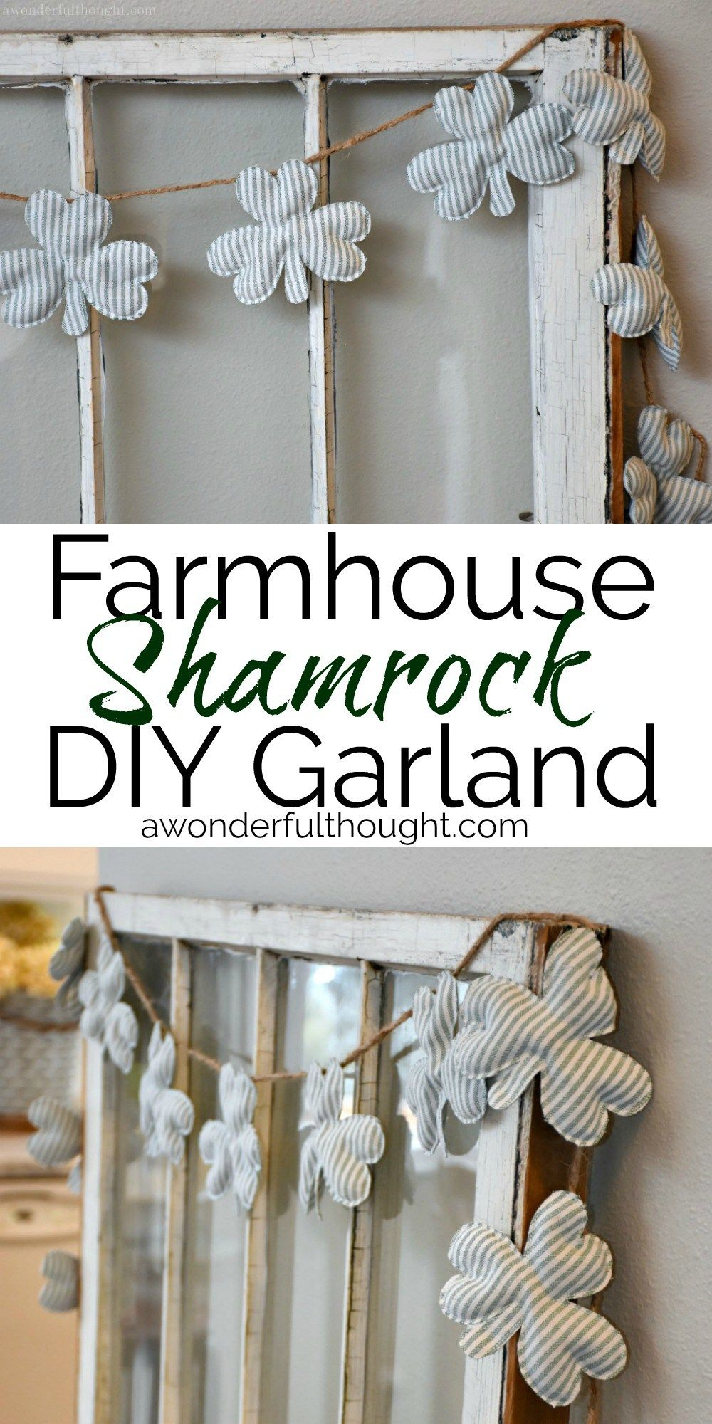 This cute farmhouse shamrock garland is the perfect decor for St. Patrick's Day! #shamrockgarland #stpatricksdaydecor #stpatricksday #awonderfulthought