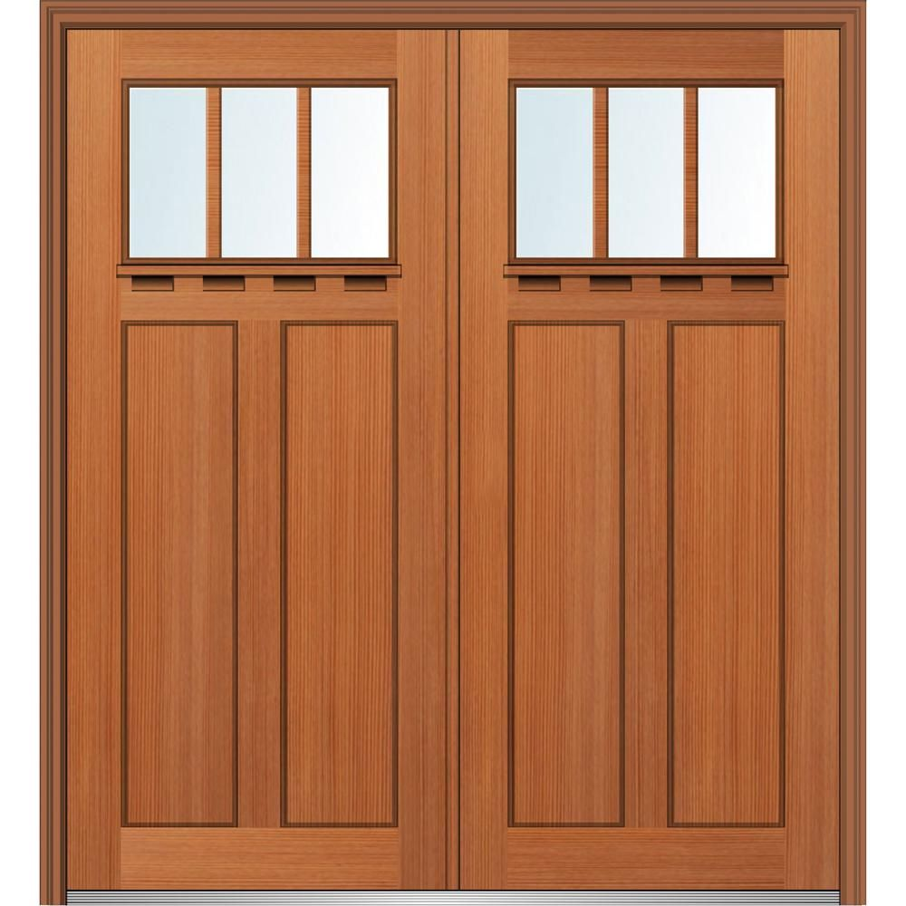 Mmi Door 72 In X 80 In Craftsman Low E Glass Right Hand 2 Panel 3 Lite Stained Fiberglass Fir Prehung Front Door With Shelf Burnis Mmi Door Front Door Doors