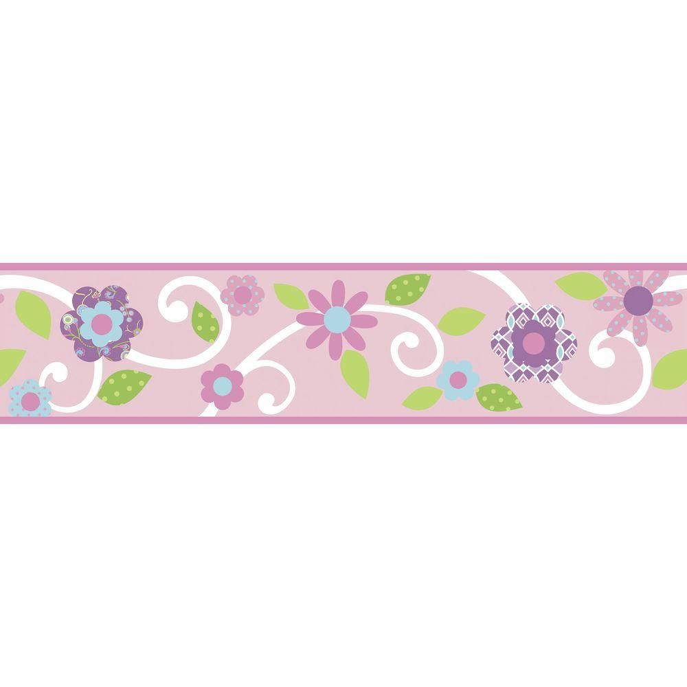 Roommates Pink White Scroll Floral Peel And Stick Wallpaper Border Rmk1457bcs The Home Depot Nursery Wall Decor Girl Wall Decals Kids Wall Decals