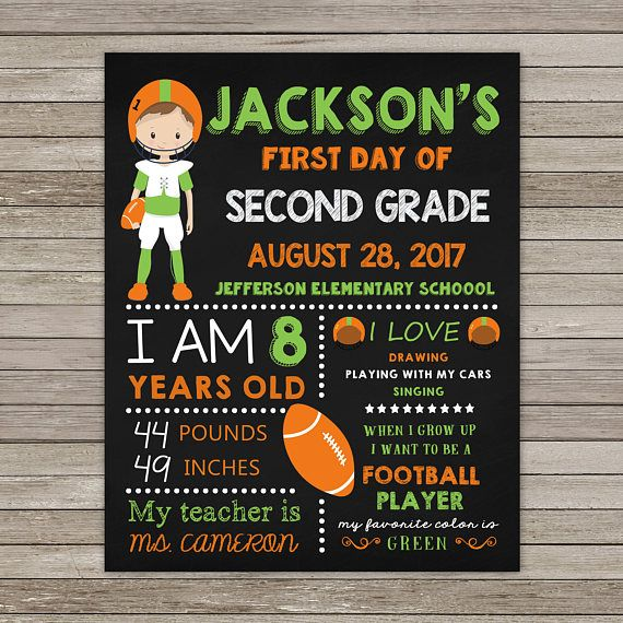 First Day of Second Grade Chalkboard First Day of Second