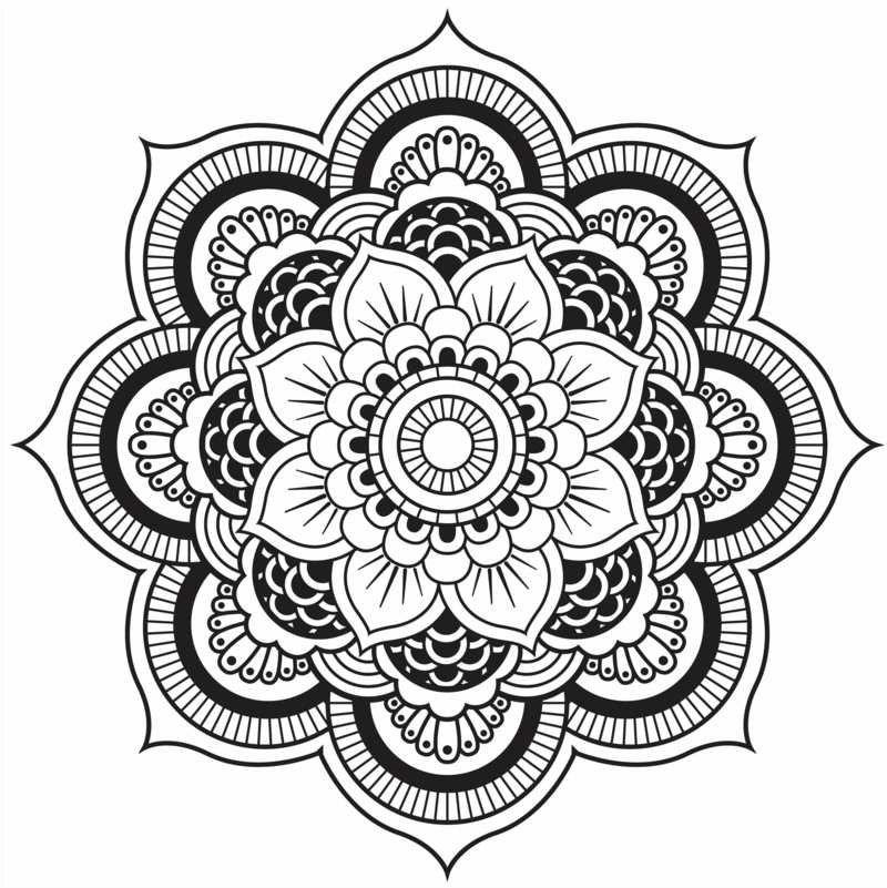 Coloriage à Imprimer Mandala à Motifs Fleurs Et Cercles
