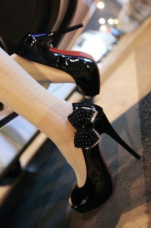 White Stockings Black Heels