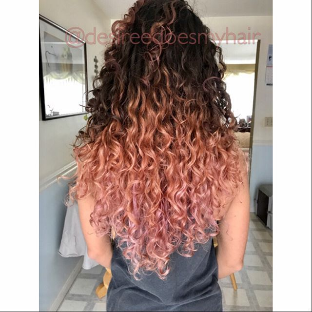 So This Happened Hair I Did On Myself Rose Gold I M In Love Curly Hair Styles Naturally Dyed Curly Hair Ombre Curly Hair