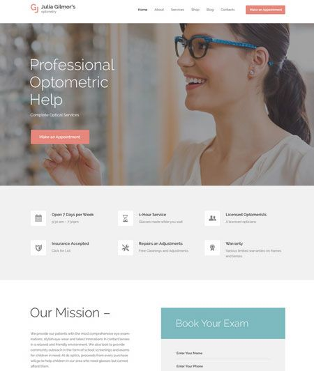 15 Wordpress Themes For Ophthalmologist Optometrists Wp Solver Wordpress Theme Optometrist Optometric