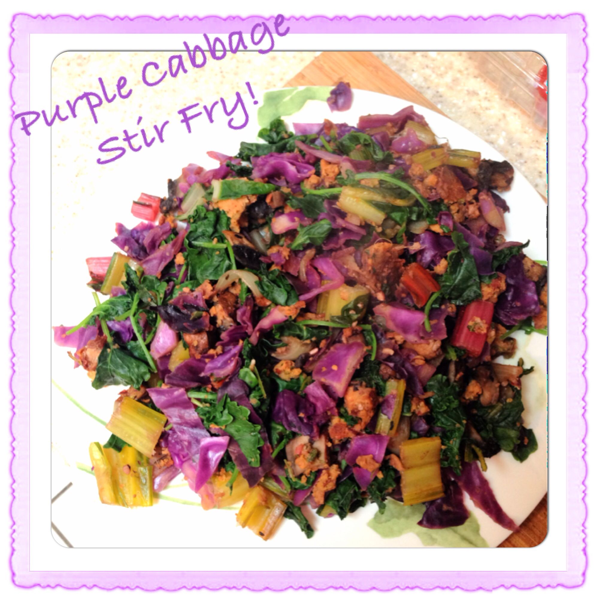 Purple Cabbage Stir Fry by Katiiez: Ingredients~1/4 head purple cabbage diced. 1/4 cup onion diced. 1 tablespoon garlic minced. 1/4 teaspoon fresh ginger minced. 3 leaves and stems rainbow chard chopped. 1 handful baby kale. 1 cooked bean veggie burger. Directions: For 5 mins, on medium heat sauté first 4 ingredients. Add in last 3 for 3 mins. Healthy, high in antioxidants and vegan! Get funky and creative by adding in 2 tablespoons hemp seed, 2 tablespoons slivered almonds, or roasted…