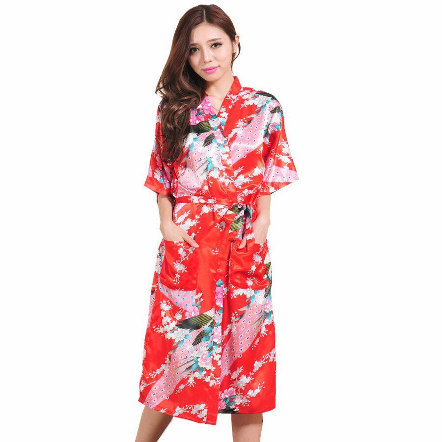 2019 Bride Bridesmaid Robe Women Floral Bathrobe Kimono Robe Peacock