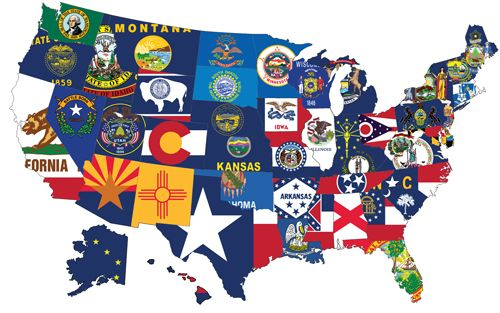 State Flags All United States And Some Of The Territory Flags - Map of the 50 united states