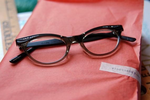 1950's Black and Smoky Grey Cat Eye Eyeglass by BoldSparrowVintage