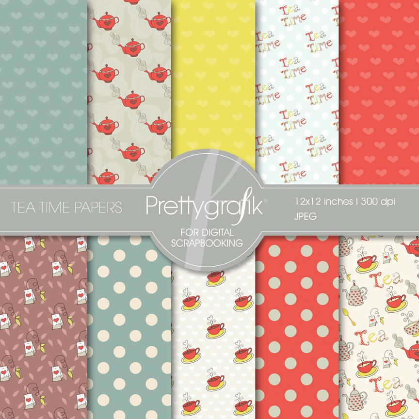 Tea time Digital Scrapbook Papers - PGPSPK503, via Etsy.