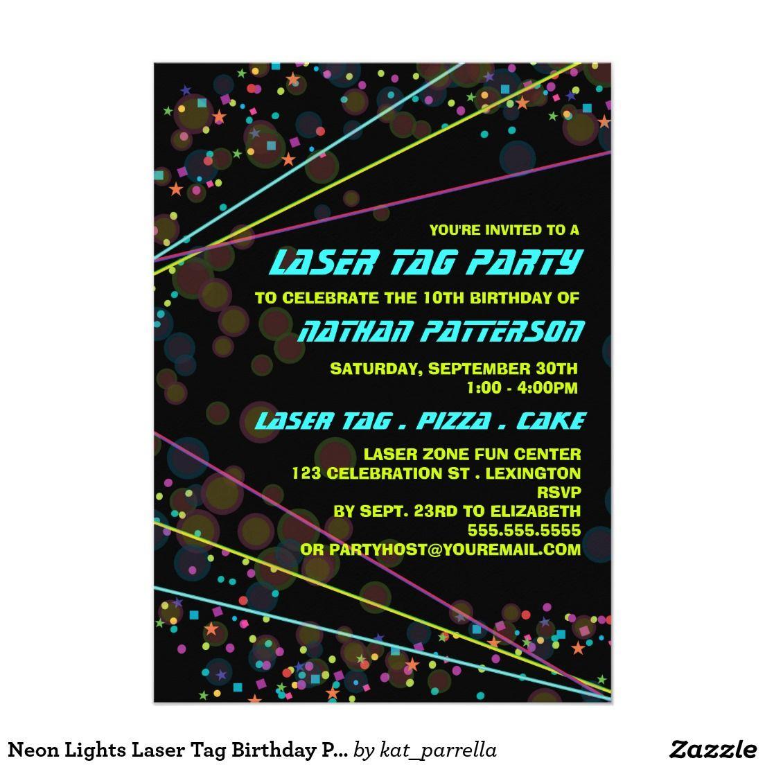 Einladungen · Convite De Aniversário Do Tag Do Laser Das Luzes