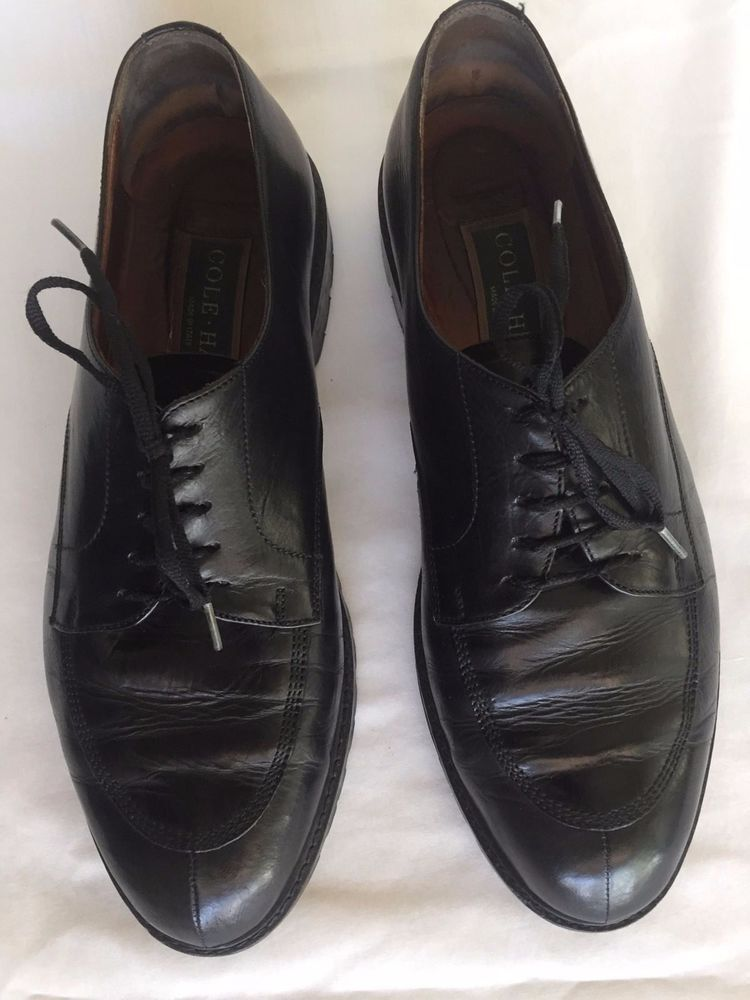 Cole Haan Mens Oxfords Black Size 9.5 Leather Laceup Made In The Usa Split Toe