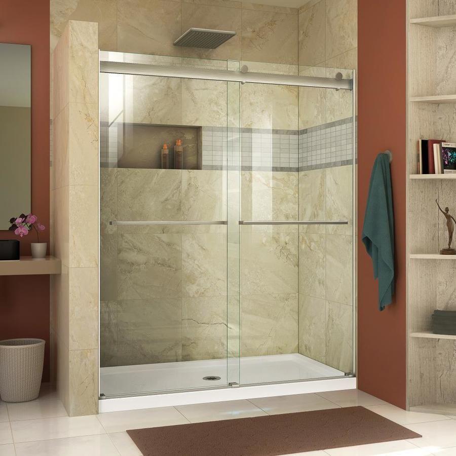 Dreamline Essence 56 In To 60 In W Frameless Brushed Nickel Sliding Shower Door Bypass Shower Door Semi Frameless Shower Doors Frameless Bypass Shower Doors