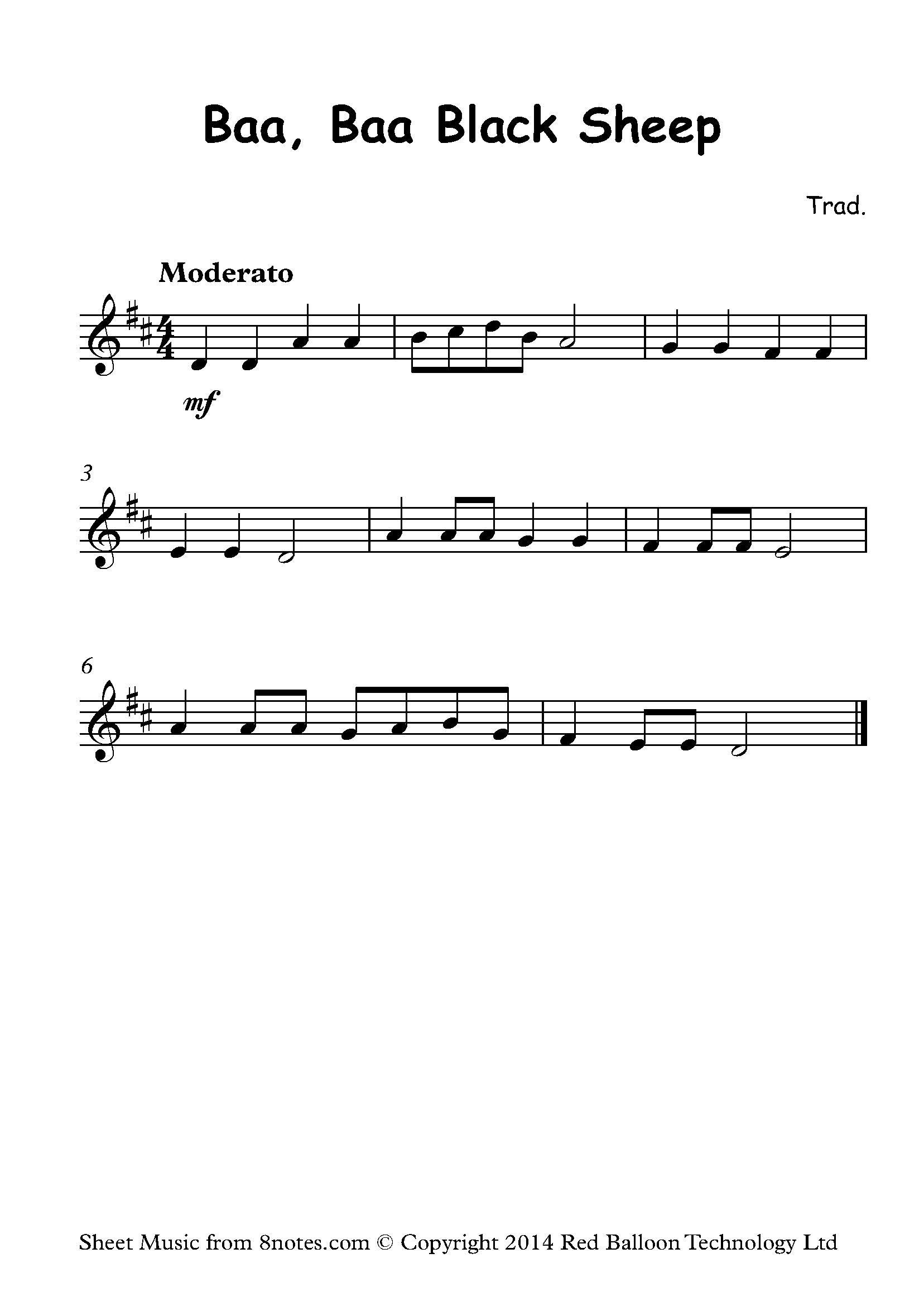 baa baa black sheep sheet music piano free