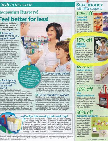 Onzie coupon code featured in Woman's World!