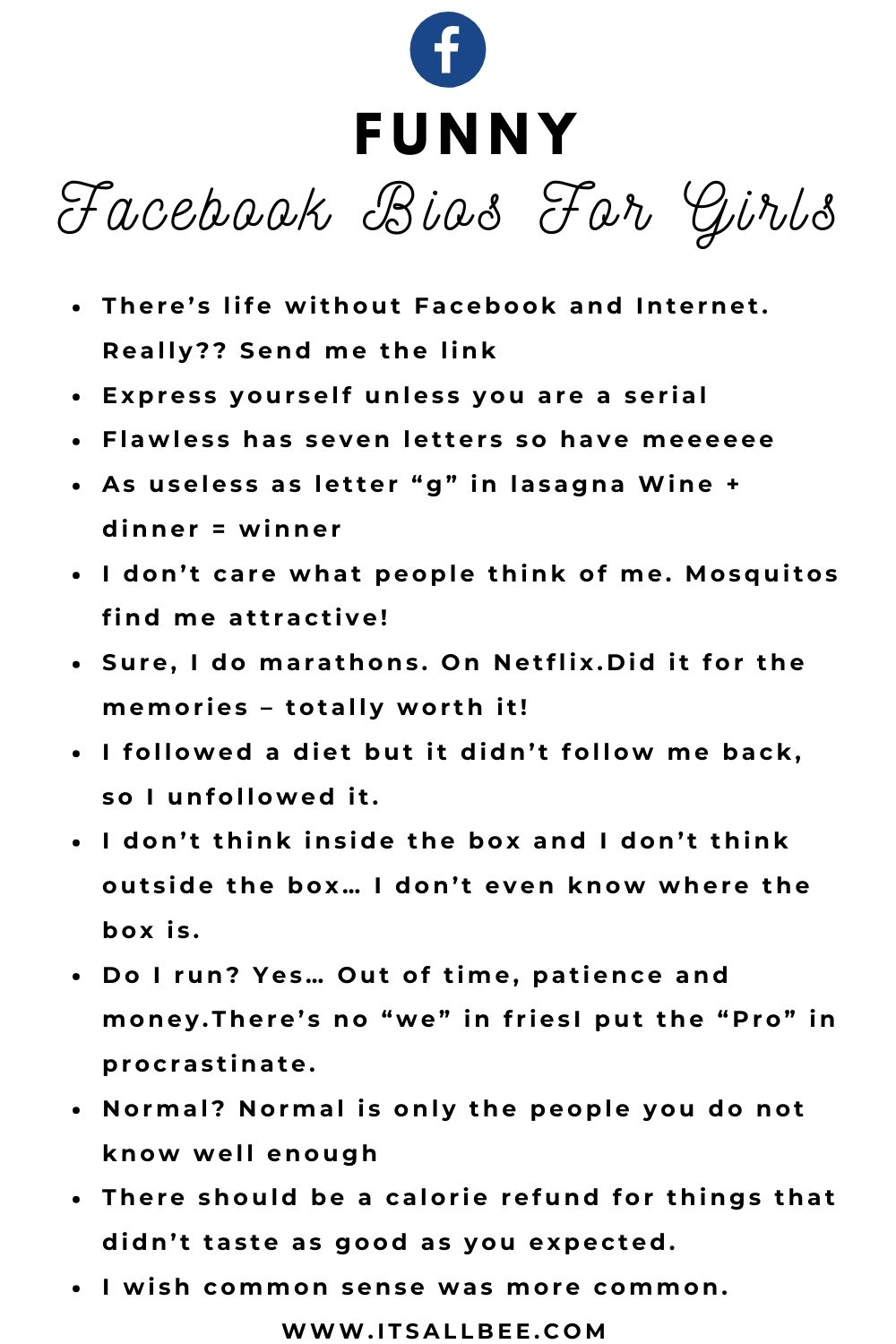 100 Cool Witty Sassy Facebook Bios For Girls Itsallbee Travel Blog In 2020 Facebook Bio Quotes Facebook Bio Bio Quotes