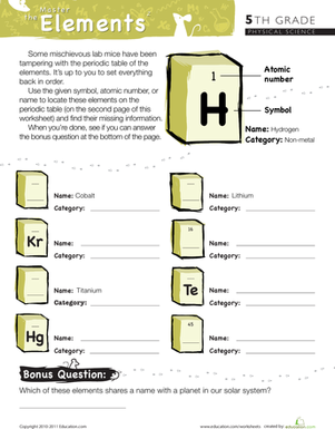 Master the periodic table of elements 2 physical science fifth grade physical science worksheets master the periodic table of elements 2 urtaz Image collections