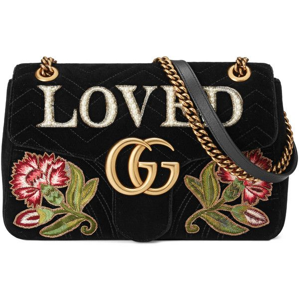 Gucci Gg Marmont Embroidered Velvet Shoulder Bag (3 496 735 LBP) ❤ liked on Polyvore featuring bags, handbags, shoulder bags, black, women, hand bags, handbags shoulder bags, embroidered handbags, chain shoulder bag and handbag purse