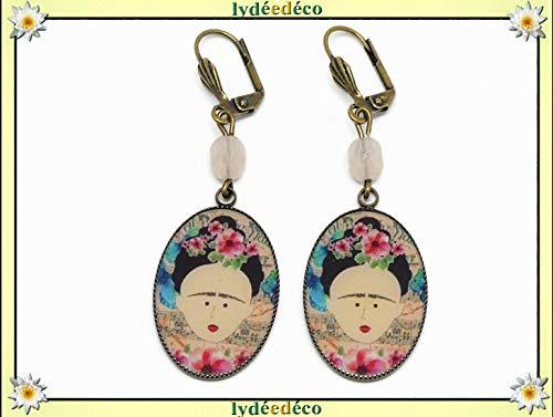 ultima collezione 2019 autentico Saldi 2019 Orecchini resina Frida Kahlo farfalla fiore blu rosa nero ...