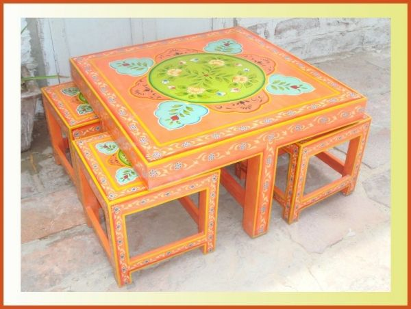 Charming Hand Painted Coffee Table With Stool Indian 168129 (600×452)