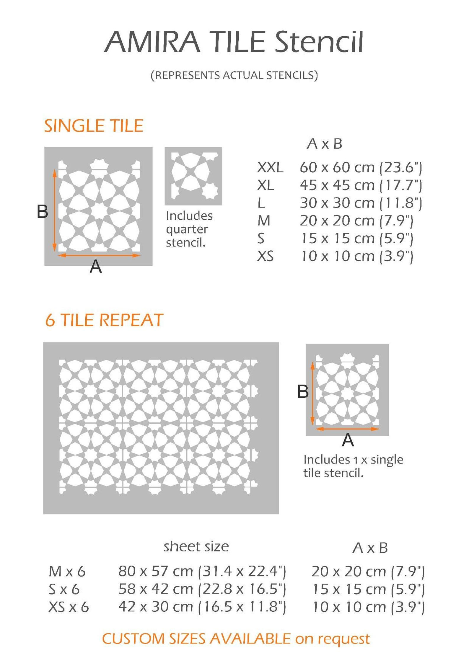 Amira Moroccan Tile Stencil For Painting Concrete Laminate Floor