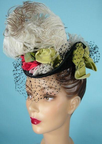 1940 S George Beigel Paris New York Black Felt Toy Tilt Hat With Feathers Velvet Ribbons And Flowers Vintage Style Hat Hat Fashion Hats Vintage